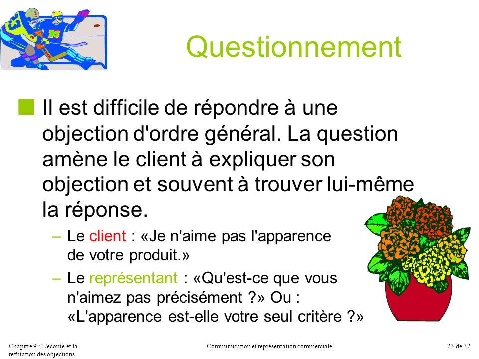 Chapitre 9 : L'écoute et la réfutation des objections Communication et représentation commerciale23 de 32 Questionnement Il est difficile de répondre