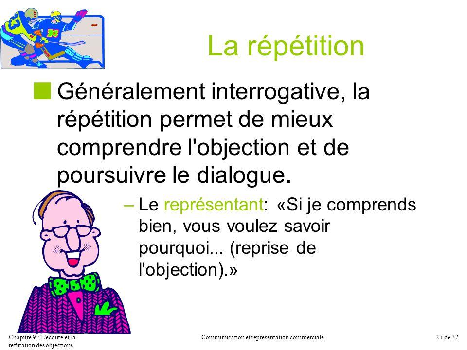 Chapitre 9 : L'écoute et la réfutation des objections Communication et représentation commerciale25 de 32 La répétition Généralement interrogative, la