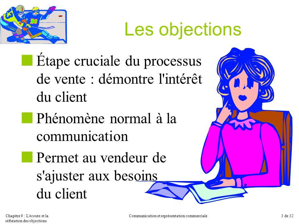Chapitre 9 : L'écoute et la réfutation des objections Communication et représentation commerciale3 de 32 Les objections Étape cruciale du processus de