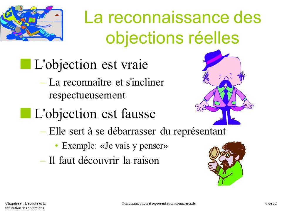 Chapitre 9 : L'écoute et la réfutation des objections Communication et représentation commerciale6 de 32 La reconnaissance des objections réelles L'ob