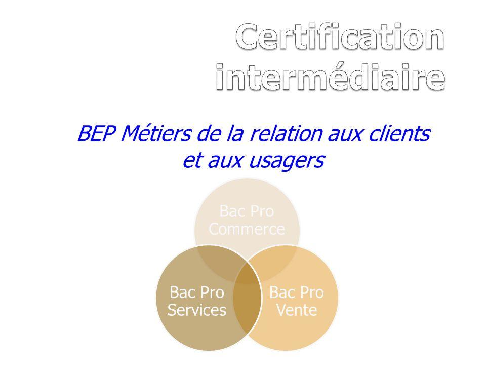 BEP Métiers de la relation aux clients et aux usagers Bac Pro Commerce Bac Pro Vente Bac Pro Services