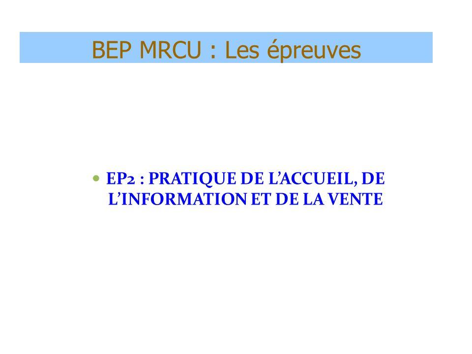 BEP MRCU : Les épreuves EP2 : PRATIQUE DE LACCUEIL, DE LINFORMATION ET DE LA VENTE