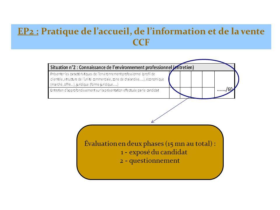 Évaluation en deux phases (15 mn au total) : 1 - exposé du candidat 2 - questionnement EP2 : Pratique de laccueil, de linformation et de la vente CCF
