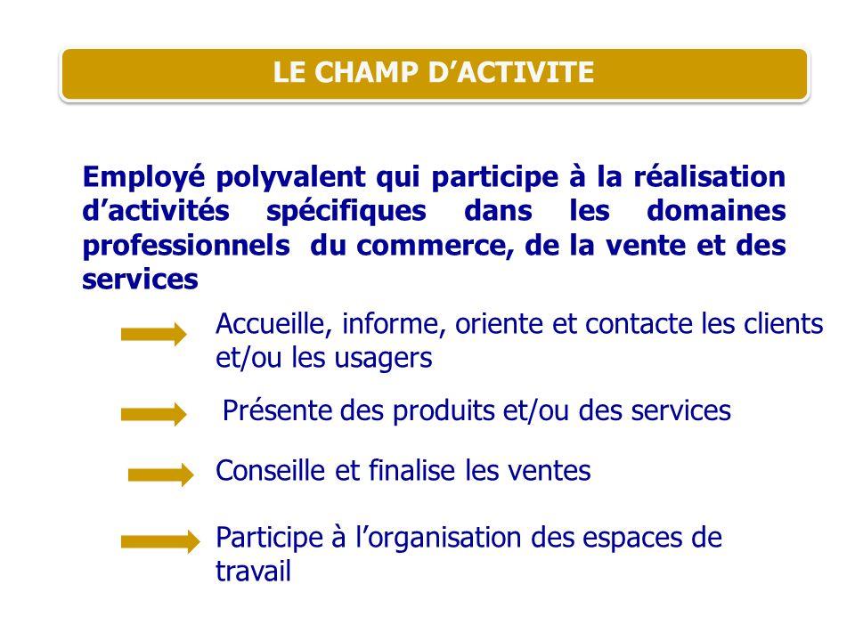LE CHAMP DACTIVITE Employé polyvalent qui participe à la réalisation dactivités spécifiques dans les domaines professionnels du commerce, de la vente