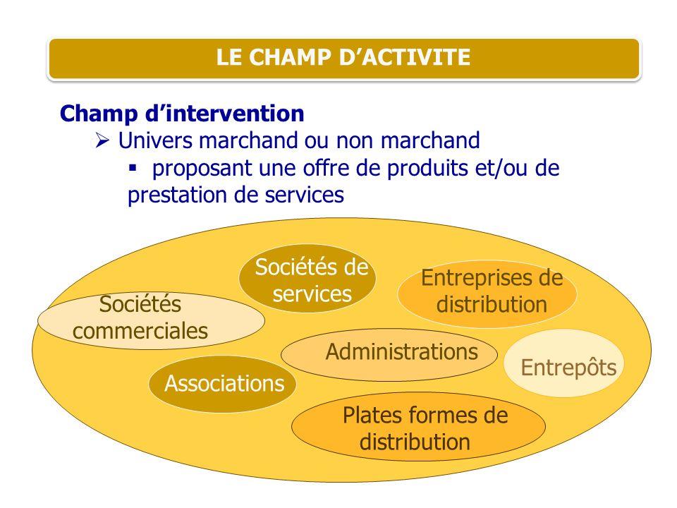 LE CHAMP DACTIVITE Champ dintervention Univers marchand ou non marchand proposant une offre de produits et/ou de prestation de services Entreprises de