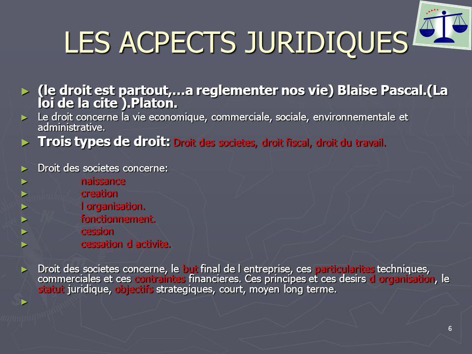 7 LES ACPECTS JURIDIQUES Deux types de statut : Deux types de statut : Entreprise individuelle : Responsabilite illimite du gerant.