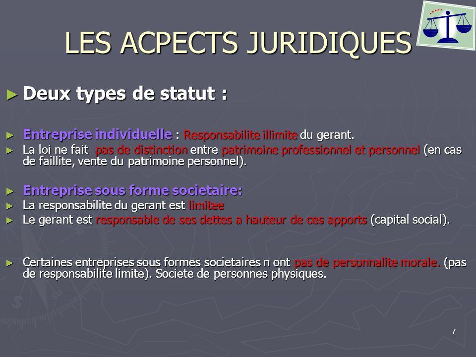 7 LES ACPECTS JURIDIQUES Deux types de statut : Deux types de statut : Entreprise individuelle : Responsabilite illimite du gerant. Entreprise individ