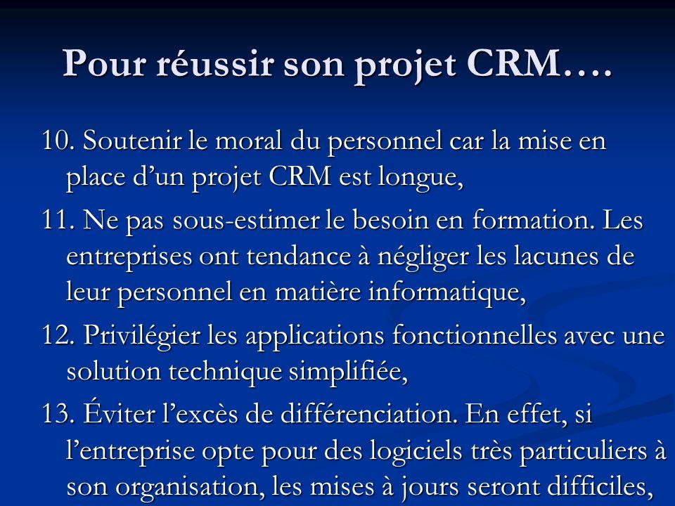 10.Soutenir le moral du personnel car la mise en place dun projet CRM est longue, 11.