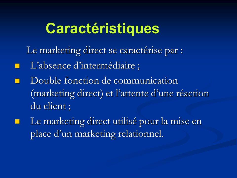 Le marketing direct se caractérise par : Labsence dintermédiaire ; Labsence dintermédiaire ; Double fonction de communication (marketing direct) et lattente dune réaction du client ; Double fonction de communication (marketing direct) et lattente dune réaction du client ; Le marketing direct utilisé pour la mise en place dun marketing relationnel.