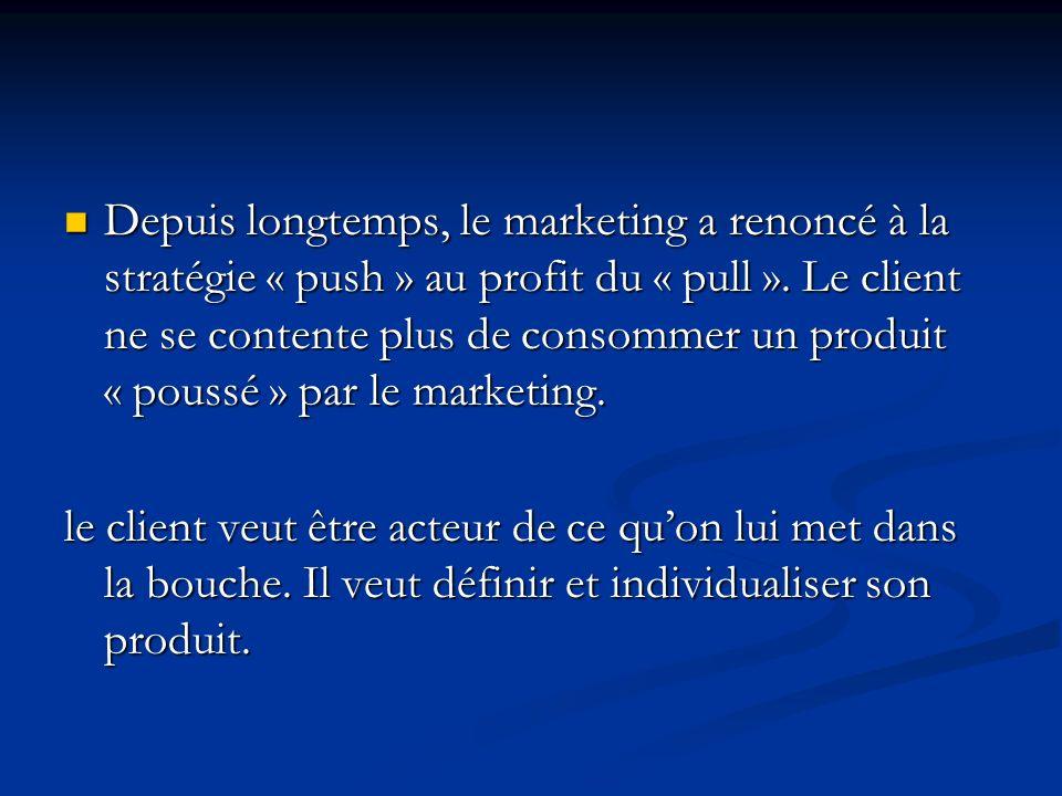 Depuis longtemps, le marketing a renoncé à la stratégie « push » au profit du « pull ».