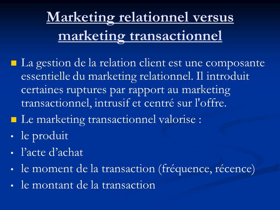 Marketing relationnel versus marketing transactionnel La gestion de la relation client est une composante essentielle du marketing relationnel.
