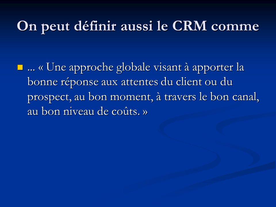 On peut définir aussi le CRM comme...