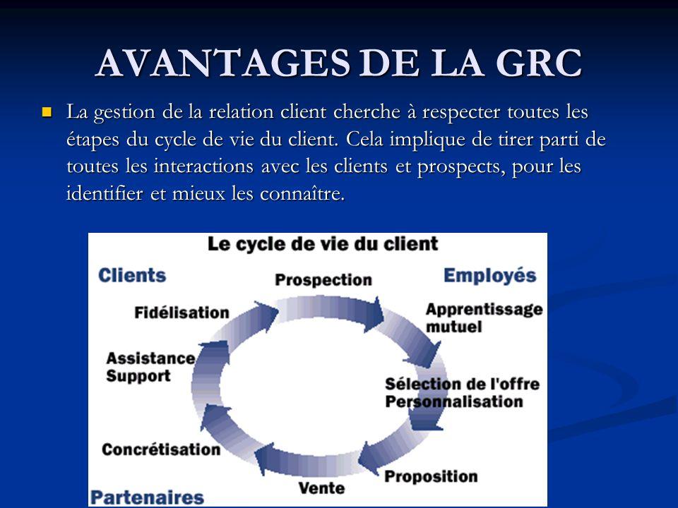 AVANTAGES DE LA GRC La gestion de la relation client cherche à respecter toutes les étapes du cycle de vie du client.