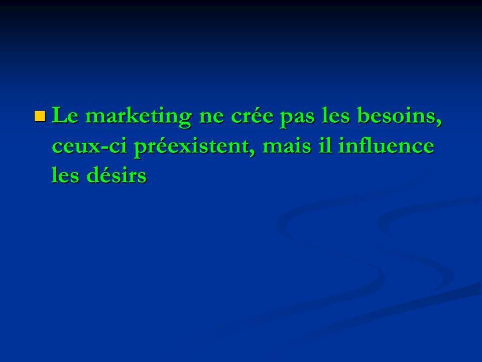 Le marketing ne crée pas les besoins, ceux-ci préexistent, mais il influence les désirs Le marketing ne crée pas les besoins, ceux-ci préexistent, mais il influence les désirs