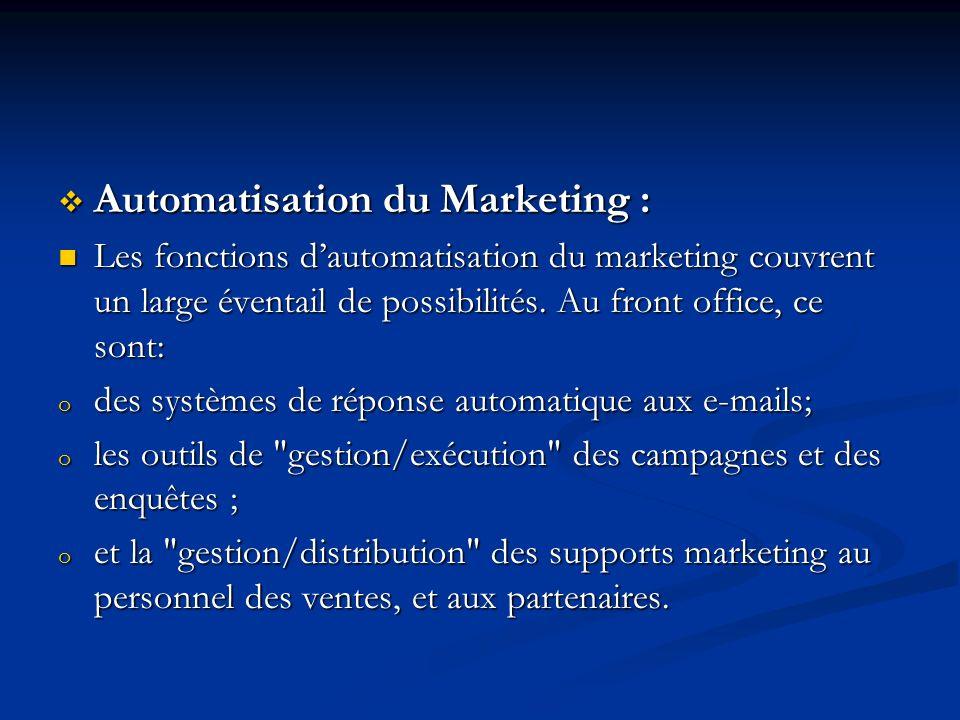 Automatisation du Marketing : Automatisation du Marketing : Les fonctions dautomatisation du marketing couvrent un large éventail de possibilités.