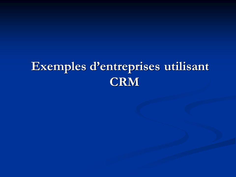 Exemples dentreprises utilisant CRM
