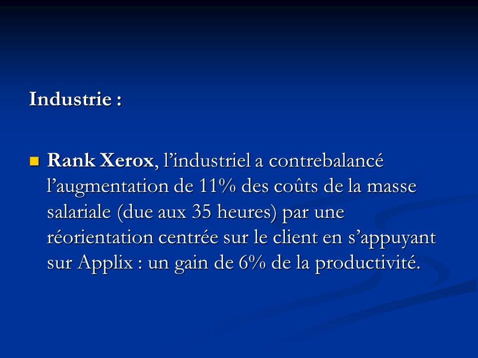 Industrie : Rank Xerox, lindustriel a contrebalancé laugmentation de 11% des coûts de la masse salariale (due aux 35 heures) par une réorientation centrée sur le client en sappuyant sur Applix : un gain de 6% de la productivité.