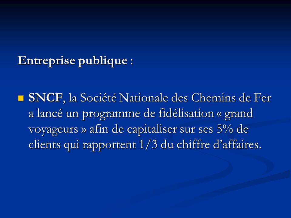 Entreprise publique : SNCF, la Société Nationale des Chemins de Fer a lancé un programme de fidélisation « grand voyageurs » afin de capitaliser sur ses 5% de clients qui rapportent 1/3 du chiffre daffaires.