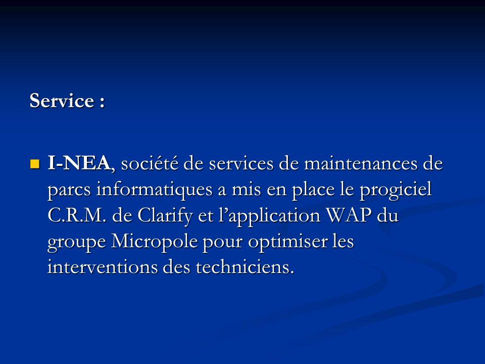 Service : I-NEA, société de services de maintenances de parcs informatiques a mis en place le progiciel C.R.M.