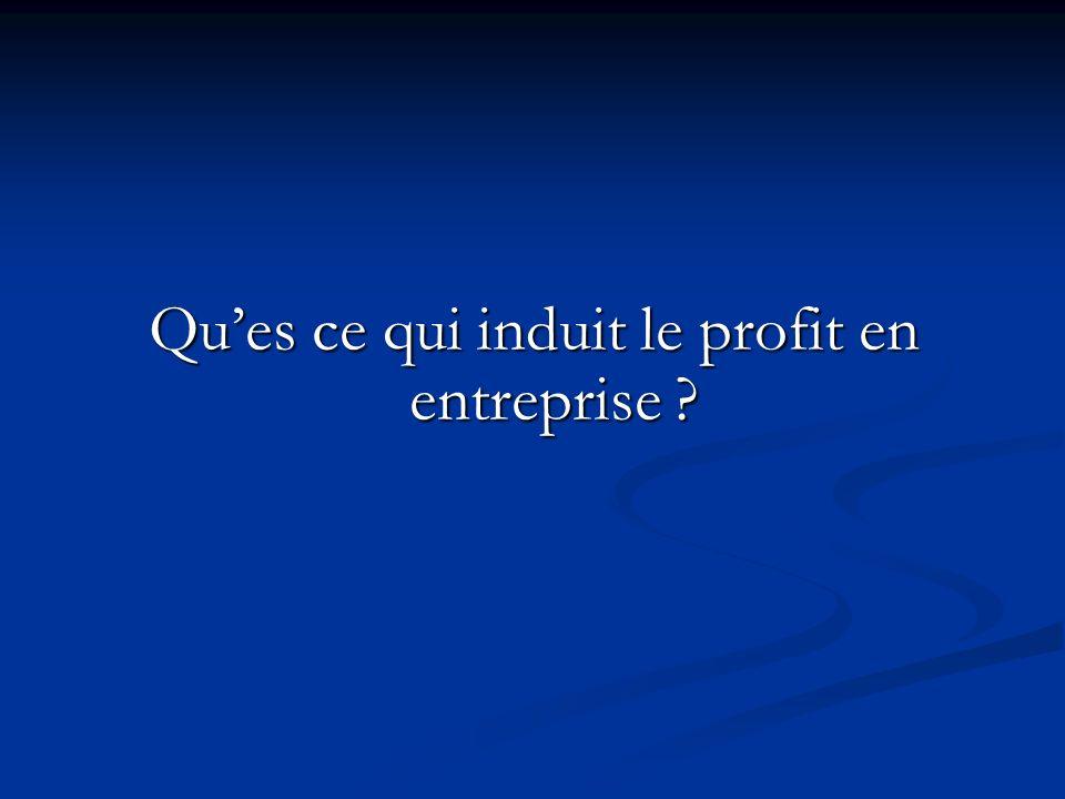 Ques ce qui induit le profit en entreprise ?