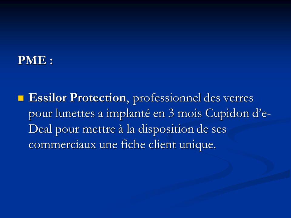 PME : Essilor Protection, professionnel des verres pour lunettes a implanté en 3 mois Cupidon de- Deal pour mettre à la disposition de ses commerciaux une fiche client unique.