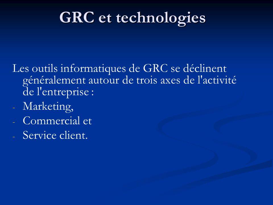 GRC et technologies Les outils informatiques de GRC se déclinent généralement autour de trois axes de l activité de l entreprise : - - Marketing, - - Commercial et - - Service client.