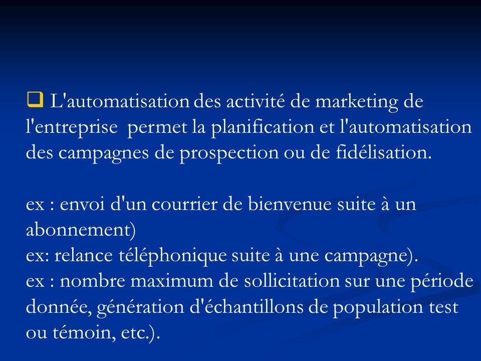 L automatisation des activité de marketing de l entreprise permet la planification et l automatisation des campagnes de prospection ou de fidélisation.