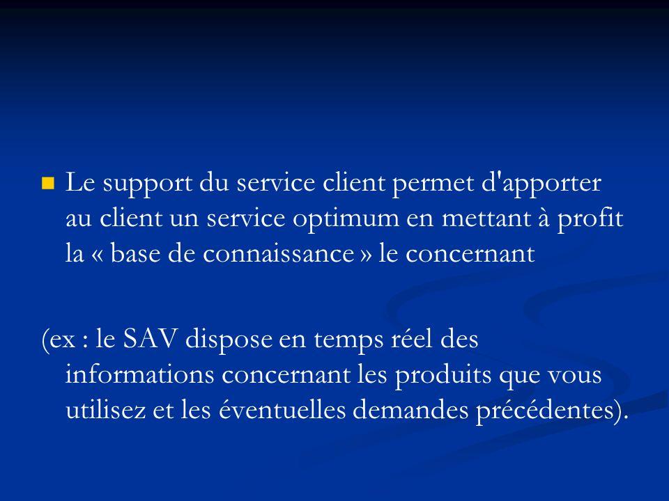Le support du service client permet d apporter au client un service optimum en mettant à profit la « base de connaissance » le concernant (ex : le SAV dispose en temps réel des informations concernant les produits que vous utilisez et les éventuelles demandes précédentes).