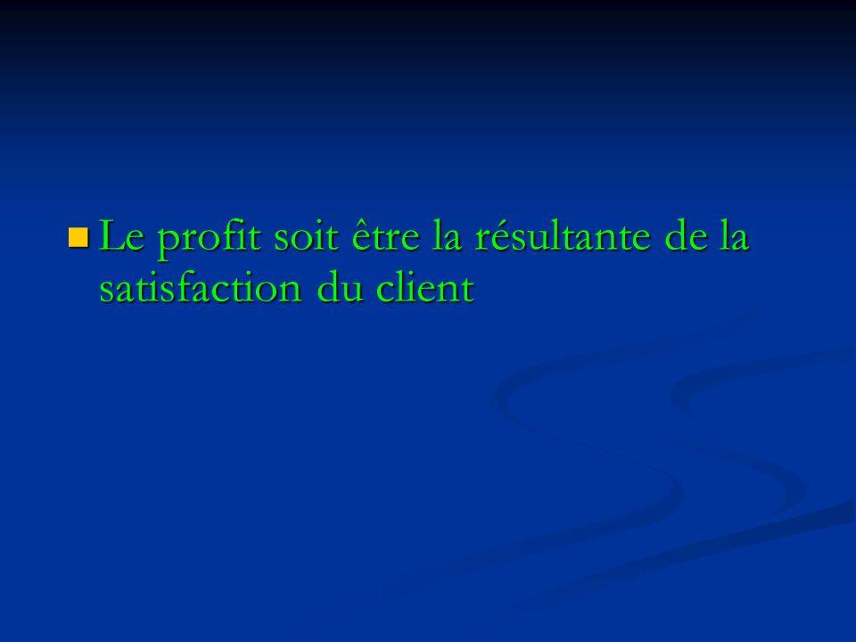 Le profit soit être la résultante de la satisfaction du client Le profit soit être la résultante de la satisfaction du client