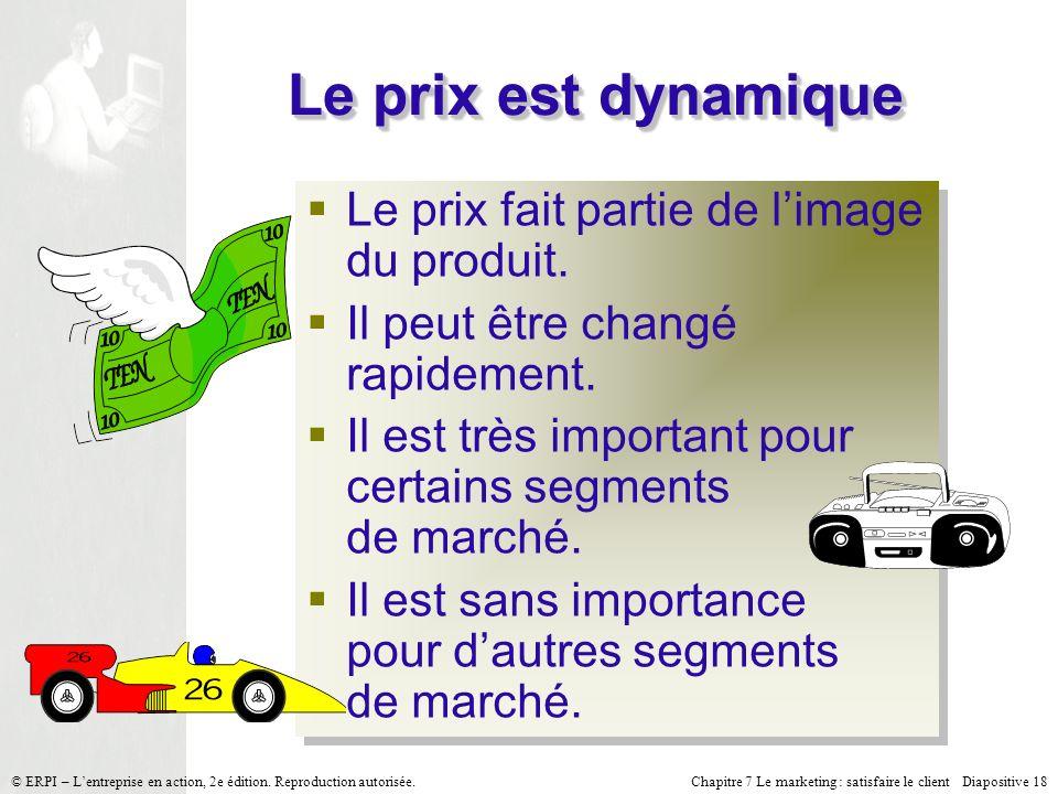 Chapitre 7 Le marketing : satisfaire le client Diapositive 18 © ERPI – Lentreprise en action, 2e édition. Reproduction autorisée. Le prix est dynamiqu