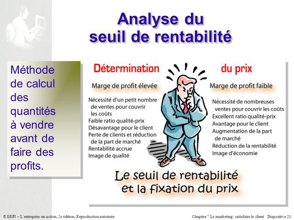 Chapitre 7 Le marketing : satisfaire le client Diapositive 20 © ERPI – Lentreprise en action, 2e édition. Reproduction autorisée. Analyse du seuil de