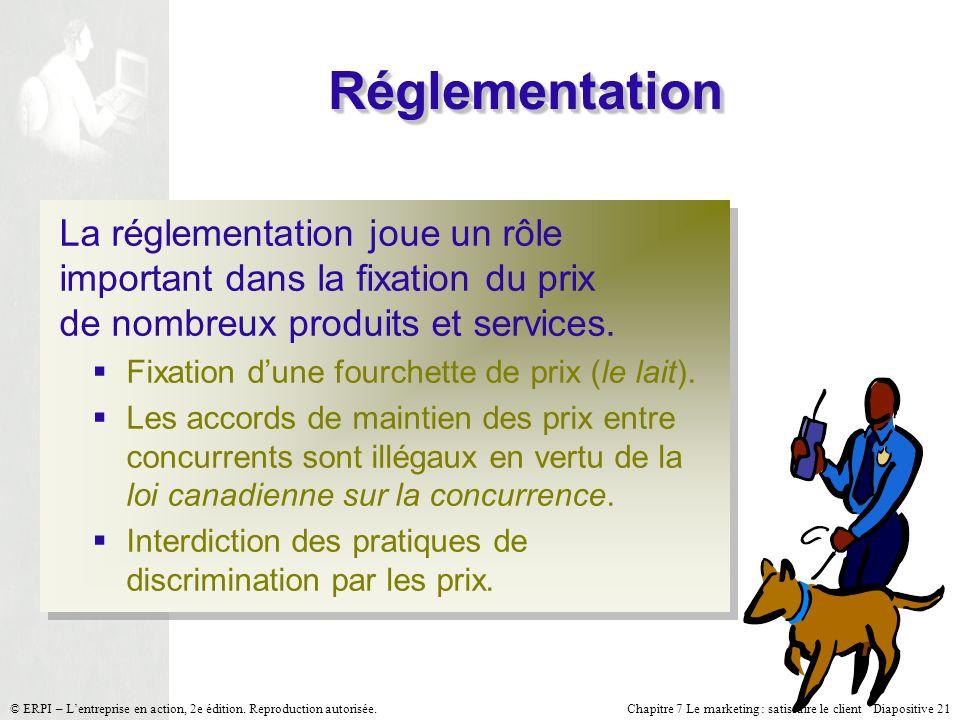 Chapitre 7 Le marketing : satisfaire le client Diapositive 21 © ERPI – Lentreprise en action, 2e édition. Reproduction autorisée. RéglementationRéglem