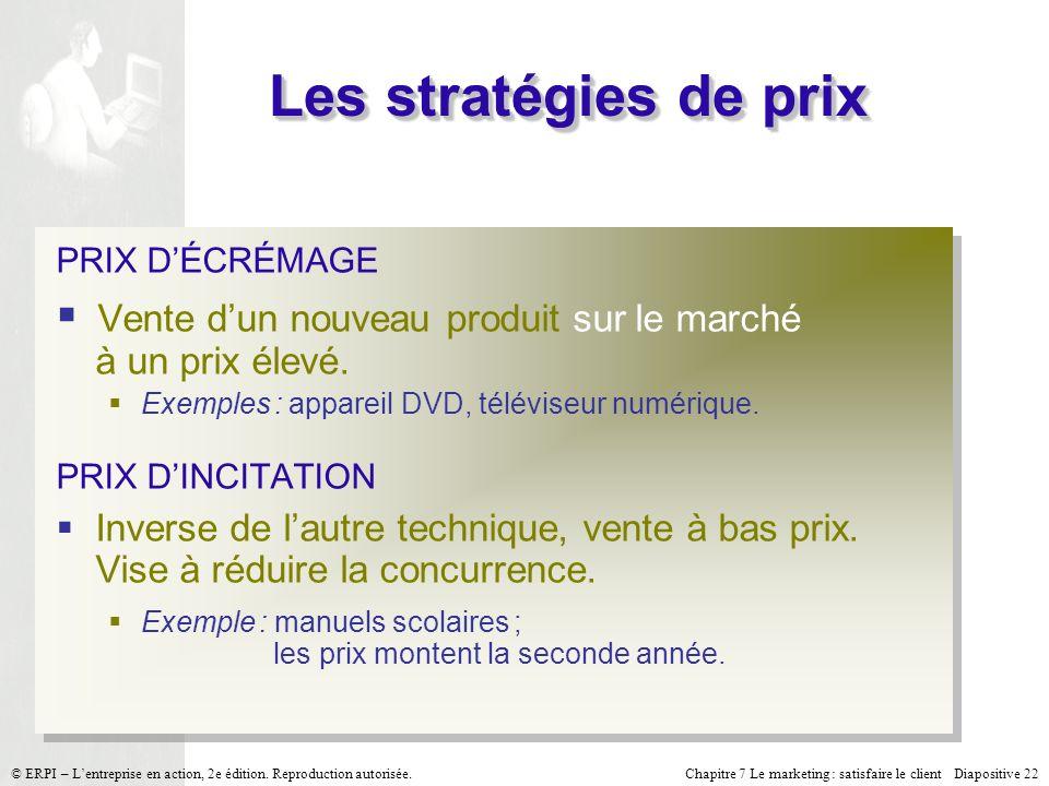 Chapitre 7 Le marketing : satisfaire le client Diapositive 22 © ERPI – Lentreprise en action, 2e édition. Reproduction autorisée. Les stratégies de pr