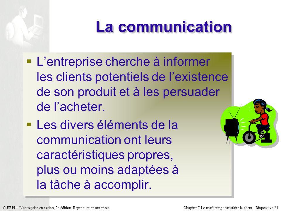 Chapitre 7 Le marketing : satisfaire le client Diapositive 23 © ERPI – Lentreprise en action, 2e édition. Reproduction autorisée. La communication Len