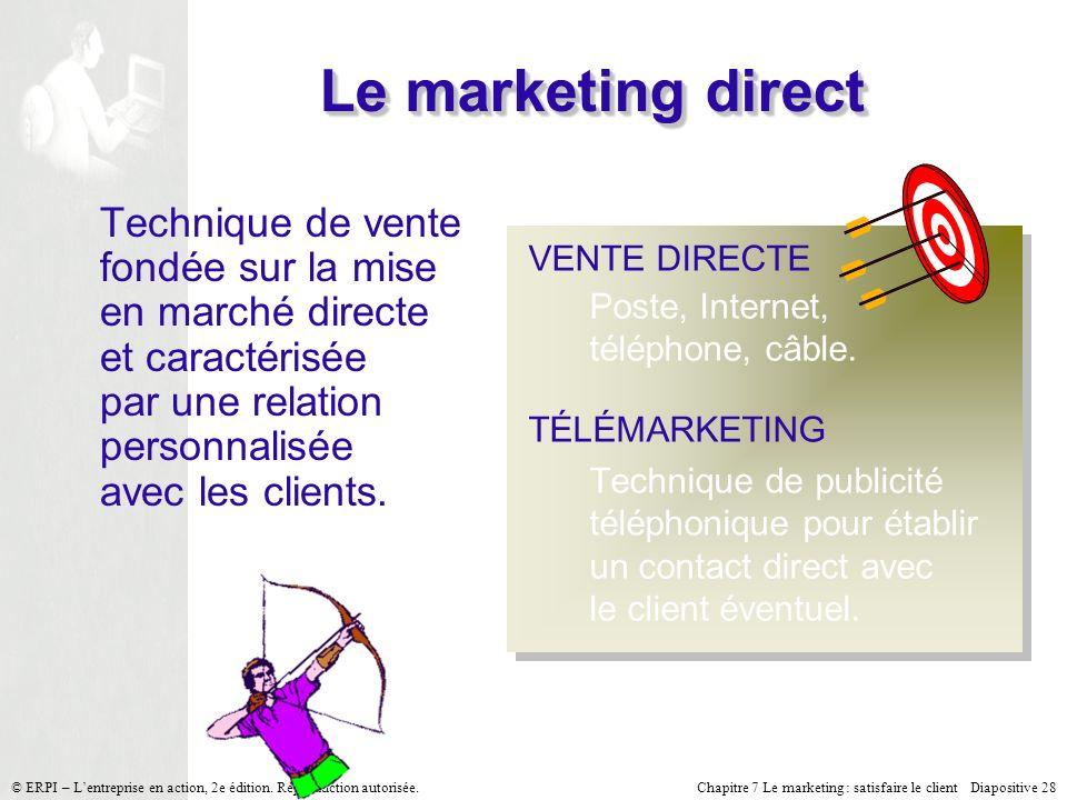 Chapitre 7 Le marketing : satisfaire le client Diapositive 28 © ERPI – Lentreprise en action, 2e édition. Reproduction autorisée. Le marketing direct