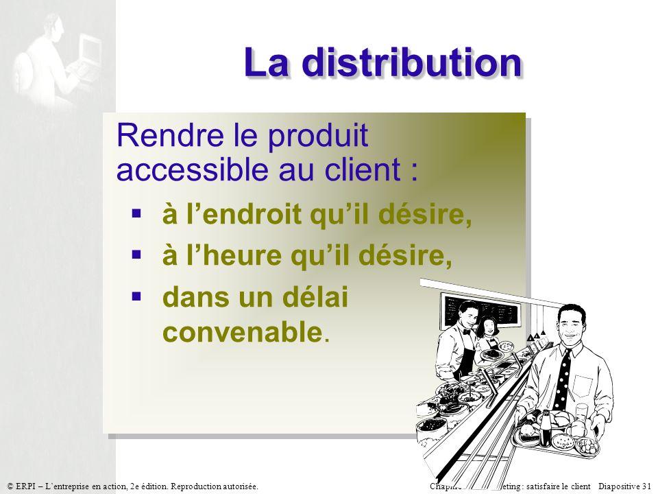 Chapitre 7 Le marketing : satisfaire le client Diapositive 31 © ERPI – Lentreprise en action, 2e édition. Reproduction autorisée. La distribution Rend