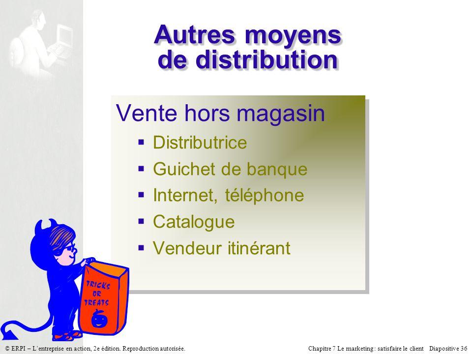 Chapitre 7 Le marketing : satisfaire le client Diapositive 36 © ERPI – Lentreprise en action, 2e édition. Reproduction autorisée. Autres moyens de dis
