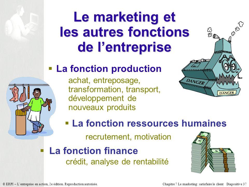 Chapitre 7 Le marketing : satisfaire le client Diapositive 37 © ERPI – Lentreprise en action, 2e édition. Reproduction autorisée. La fonction producti