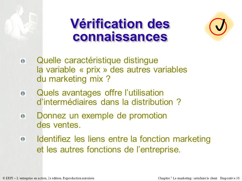 Chapitre 7 Le marketing : satisfaire le client Diapositive 38 © ERPI – Lentreprise en action, 2e édition. Reproduction autorisée. Vérification des con