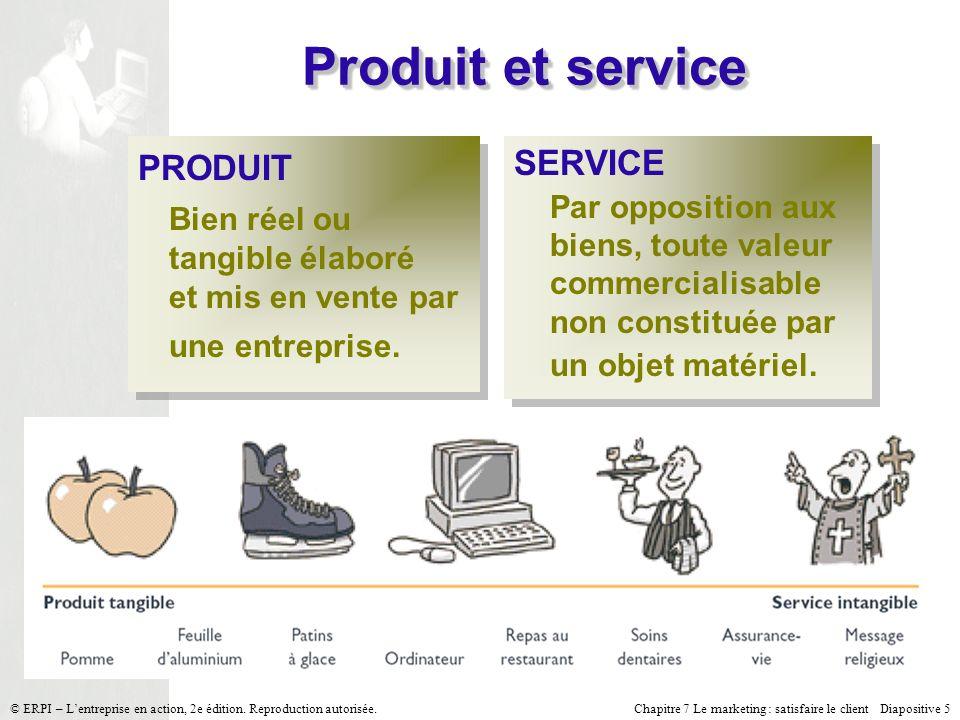Chapitre 7 Le marketing : satisfaire le client Diapositive 5 © ERPI – Lentreprise en action, 2e édition. Reproduction autorisée. Produit et service PR