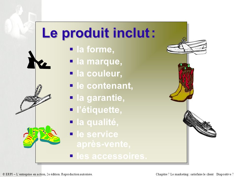 Chapitre 7 Le marketing : satisfaire le client Diapositive 7 © ERPI – Lentreprise en action, 2e édition. Reproduction autorisée. Le produit inclut : l