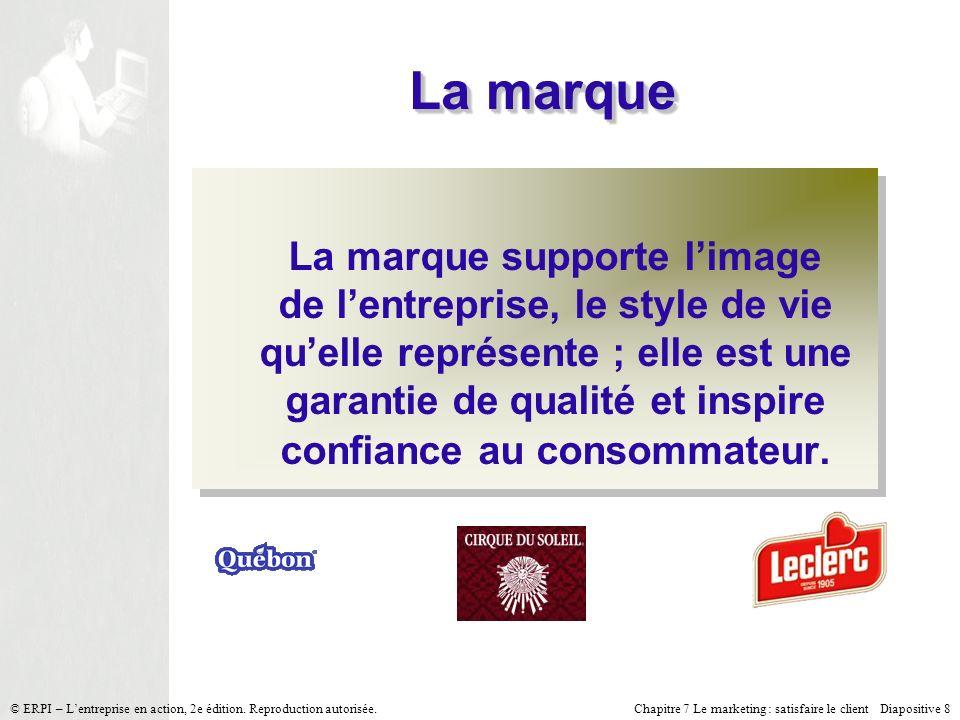 Chapitre 7 Le marketing : satisfaire le client Diapositive 8 © ERPI – Lentreprise en action, 2e édition. Reproduction autorisée. La marque La marque s
