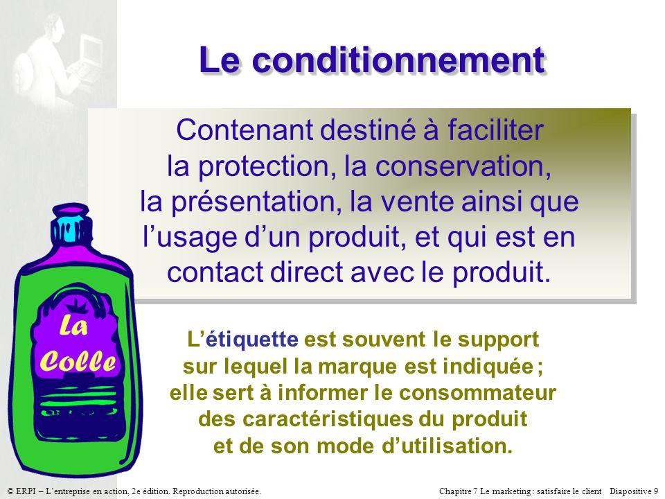 Chapitre 7 Le marketing : satisfaire le client Diapositive 9 © ERPI – Lentreprise en action, 2e édition. Reproduction autorisée. Le conditionnement Co