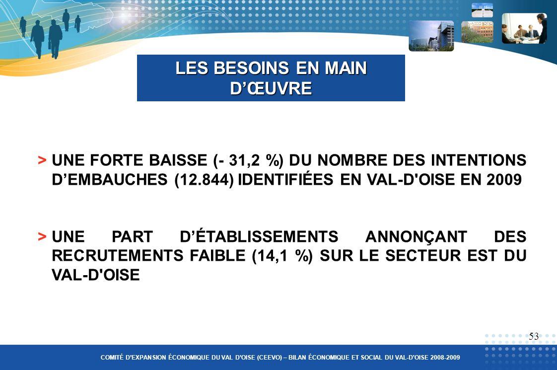 >UNE FORTE BAISSE (- 31,2 %) DU NOMBRE DES INTENTIONS DEMBAUCHES (12.844) IDENTIFIÉES EN VAL-D OISE EN 2009 >UNE PART DÉTABLISSEMENTS ANNONÇANT DES RECRUTEMENTS FAIBLE (14,1 %) SUR LE SECTEUR EST DU VAL-D OISE LES BESOINS EN MAIN DŒUVRE 53 COMITÉ DEXPANSION ÉCONOMIQUE DU VAL DOISE (CEEVO) – BILAN ÉCONOMIQUE ET SOCIAL DU VAL-D OISE 2008-2009