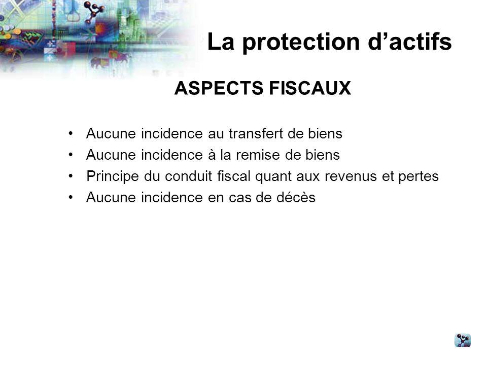 La protection dactifs ASPECTS FISCAUX Aucune incidence au transfert de biens Aucune incidence à la remise de biens Principe du conduit fiscal quant aux revenus et pertes Aucune incidence en cas de décès