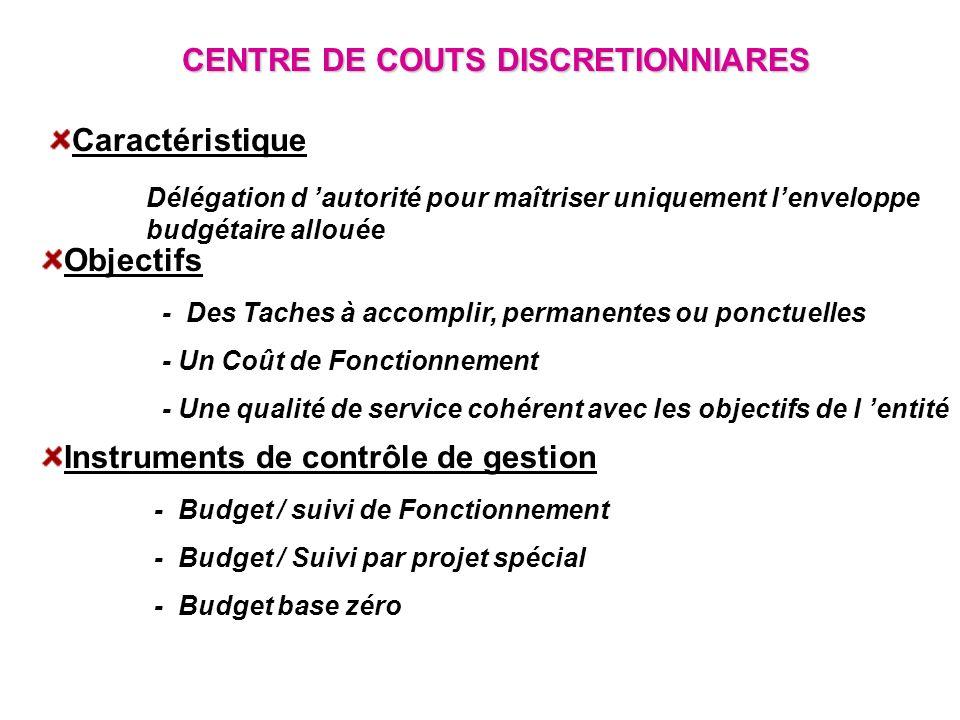 CENTRE DE COUTS DISCRETIONNIARES Caractéristique Délégation d autorité pour maîtriser uniquement lenveloppe budgétaire allouée Objectifs - Des Taches
