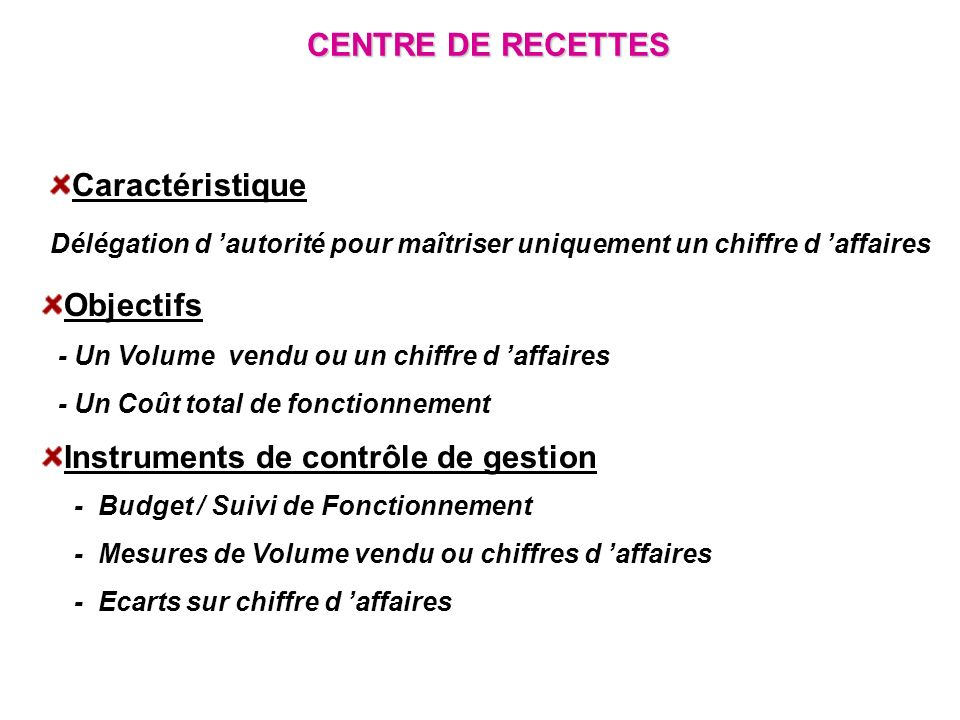 CENTRE DE RECETTES Caractéristique Délégation d autorité pour maîtriser uniquement un chiffre d affaires Objectifs - Un Volume vendu ou un chiffre d a