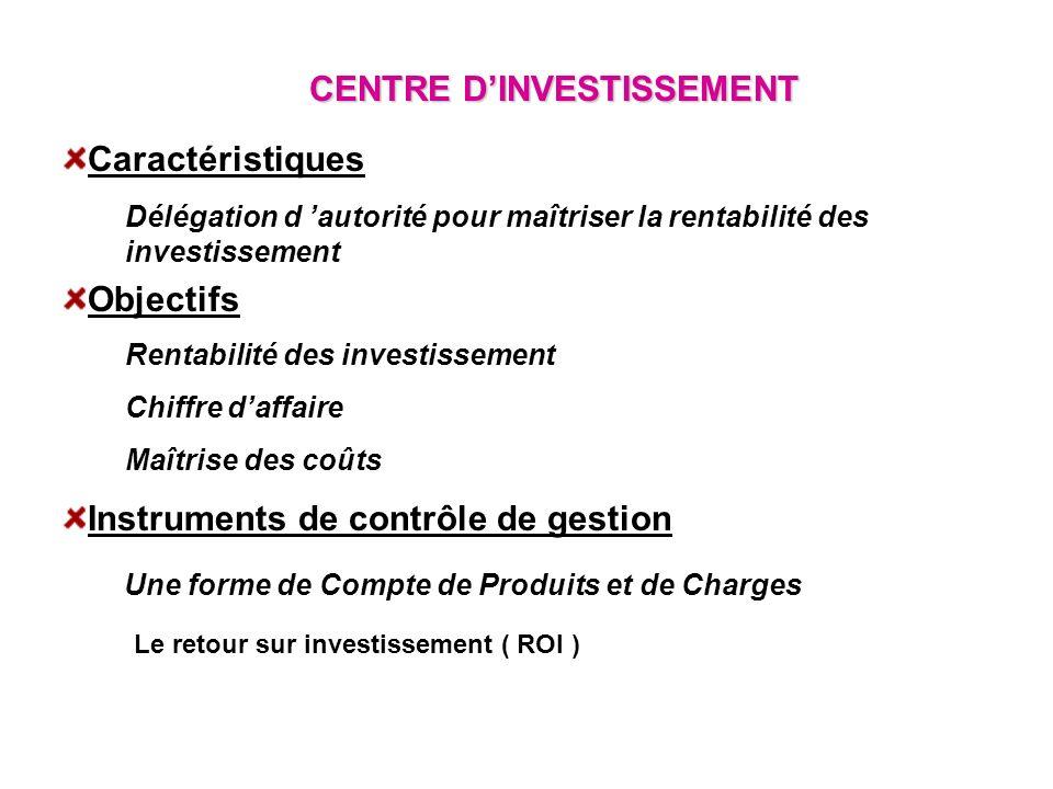 CENTRE DINVESTISSEMENT Caractéristiques Délégation d autorité pour maîtriser la rentabilité des investissement Objectifs Rentabilité des investissemen