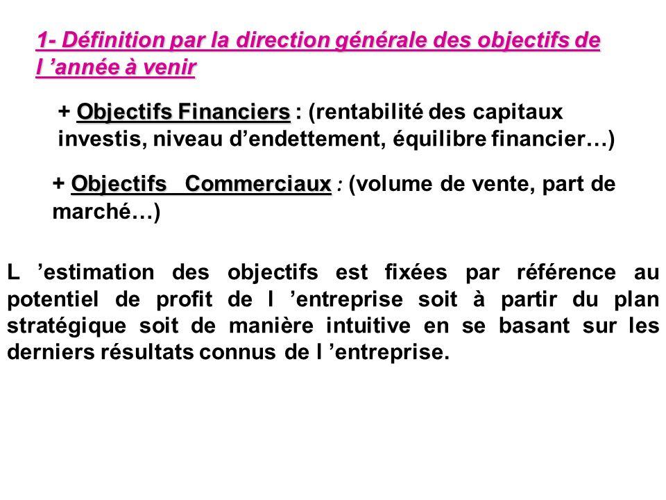 1- Définition par la direction générale des objectifs de l année à venir Objectifs Financiers + Objectifs Financiers : (rentabilité des capitaux inves