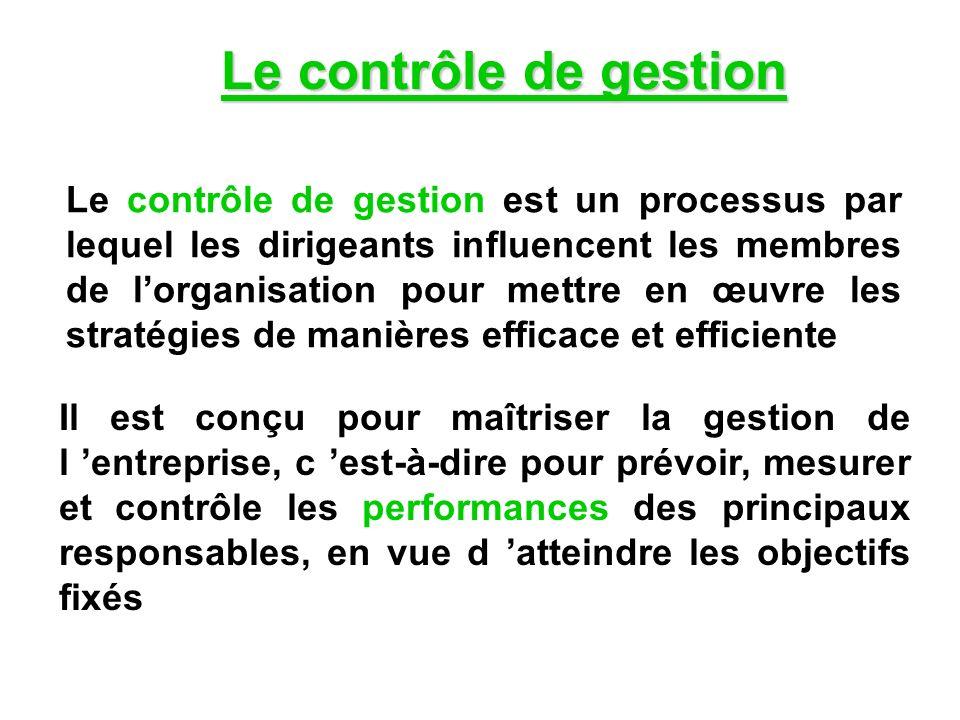 Le contrôle de gestion est un processus par lequel les dirigeants influencent les membres de lorganisation pour mettre en œuvre les stratégies de mani